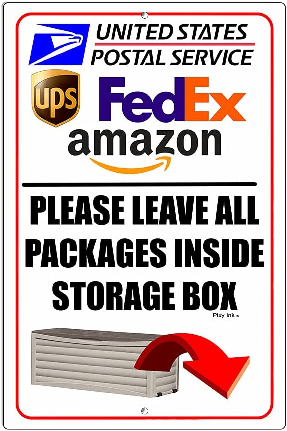 Please Leave All Packages Inside Limited time sale Storage Box New products, world's highest quality popular! Deliveri Metal Sign