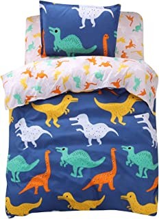 FINDNEW Animal Pattern Reactive Printing Bedding Duvet Cover Set, 3-Piece Suit,1 Duvet Cover,1 Fitted Sheet,1 Pillowcase, for Boys Girls, Cool and Breathable(Twin Size, Dinosaurs)
