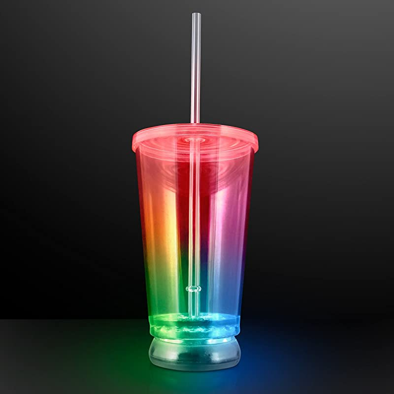 Light Up Clear Plastic Tumbler To Go Cup With Color Changing LED Lights Set Of 12