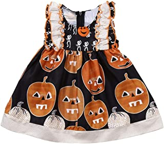 vermers Clearance Sale Infant Toddler Halloween Costume Outfits Baby Girls Fashion Pumpkin Print Ruched Dresses