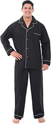 Alexander Del Rossa Mens Woven Cotton Pajama Set, Long Solid Pjs with Pants