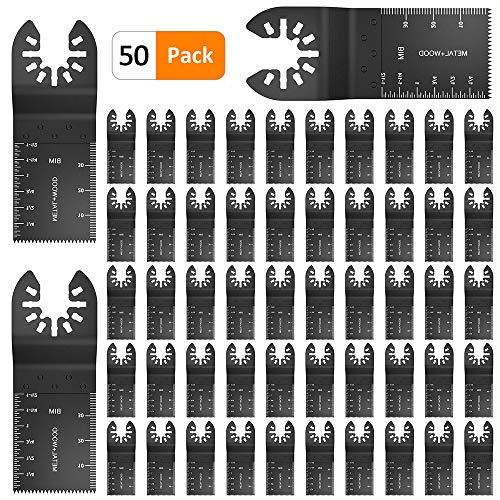 Steppiano 50点セット マルチツール 替刃 ブレード カットソー・マルチツール用 お得な使用頻度の高い替刃セット バイメタル マキタ 日立 ボッシュ BOSCH適用 替刃 互換 木材・金属切断 電動工具 先端工具セット