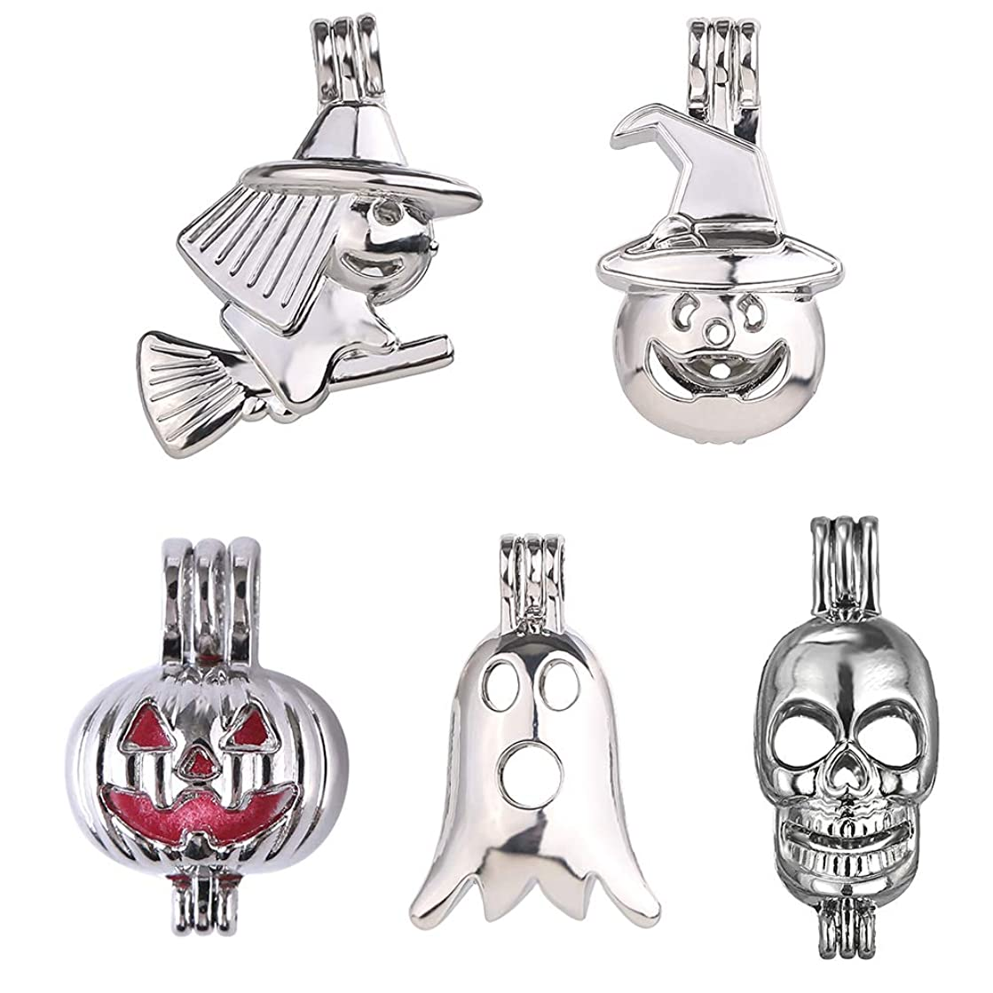 Fantasy 10pcs Mixed Halloween Pumpkin Skull Witch Broom Platinum Plated Hollow Pearl Bead Cage Pendant Essential Oil Scent Diffuser Pendant Necklace Jewelry Making Supplies (Halloween)