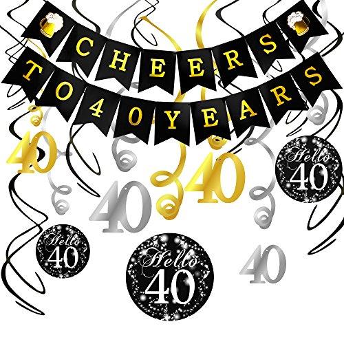 Howaf 40. Geburtstag Dekoration Set, Cheers zum 40. Geburtstag Girlande Banner Folie Spirale Deckenhänger, perfekte Männer und Frauen 40. Geburtstags Jahrestags Party Dekorationen Partyzubehör