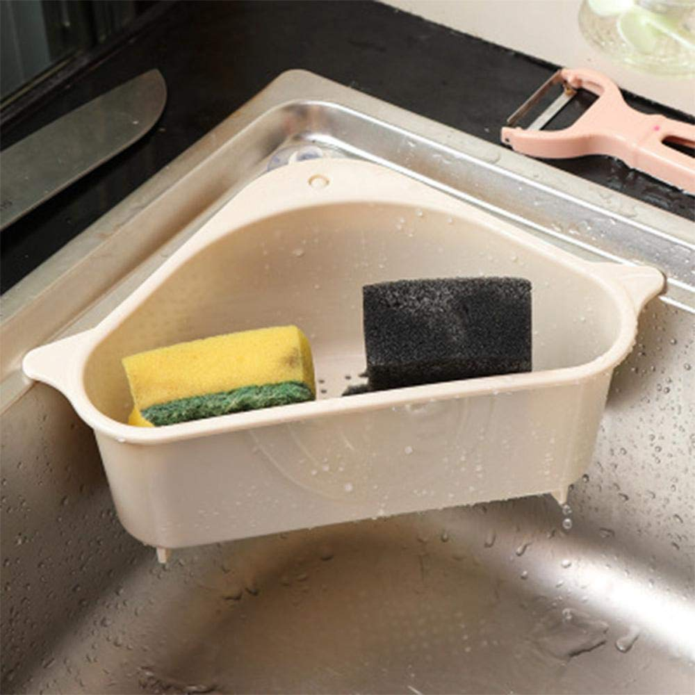 2 piezas de colador de fregadero Cesta Soporte de almacenamiento triangular con ventosa Esquina Colador de fregadero de cocina Sin perforaci/ón Estante de drenaje multifuncional Colgante Organizador