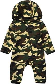 Luonita Infant Baby Girls Boys Camouflage Fleece Romper Hooded Zip Cute Soft Warm Winter Jumpsuit Bodysuit for 0-24 Months