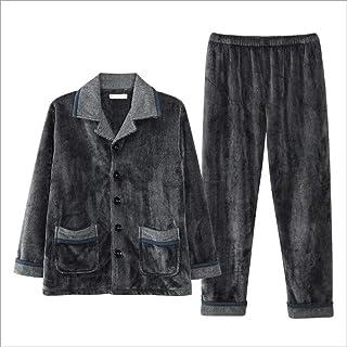 Men's Winter Pajama Set Thicken Plus Velvet Long Sleeve Warm Middle-aged Dad Set Warm Home Service (Color : Gray, Size : M)