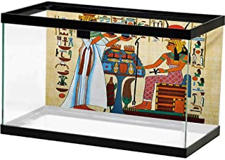 bybyhome Aquarium Decoration Retro,Papyrus Design with Elements of Ancient Egyptian History Antique Artful Illustration,Multicolor Photography Background