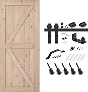 SMARTSTANDARD 36in x 84in Sliding Barn Door with 6.6ft Barn Door Hardware Kit & Handle, Pre-Drilled Ready to Assemble, DIY Unfinished Solid Cypress Wood Panelled Slab, K-Frame, Natural