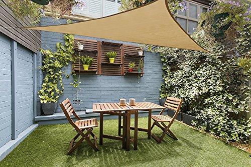 LOVE STORY 16'5'' x 16'5''x 22'11'' Right Triangle Sand Sun Shade Sail Canopy UV Block Awning for Outdoor Patio Garden Backyard