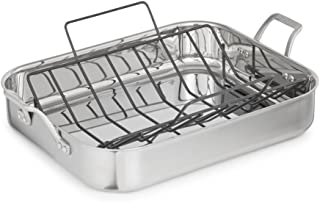 Calphalon 1948245 Signature Stainless Steel Roaster Pan with Rack, 16