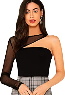SheIn Women's Sexy Off One Shoulder Choker Mesh Long Sleeve Tube T-Shirt Top