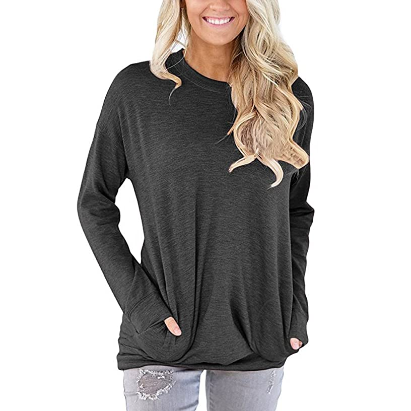 ?Deadness-Womens Women Solid Color Round Neck Casual Loose Long Sleeve Sweatshirt T-Shirts Tops Blouse