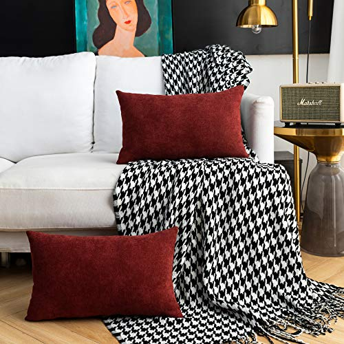 NANPIPER Decorative Lumbar Throw Pillow Covers for Sofa Couch Bed, Pack of 2 Luxury Soft Cushion Cases, 12x20 Inches, Thick Chenille Cushion Cover Pillowcases, Dark Red