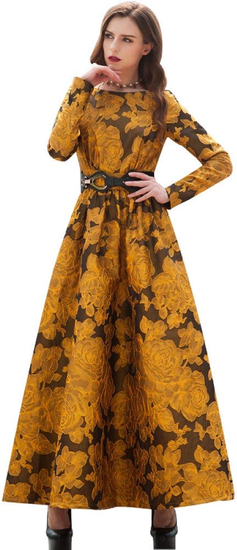 QAQBDBCKL Newest Designer Maxi Dress Party Dress Women Long Sleeve Gorgeous Floral Jacquard Long Dress Plus Size S-Xxl
