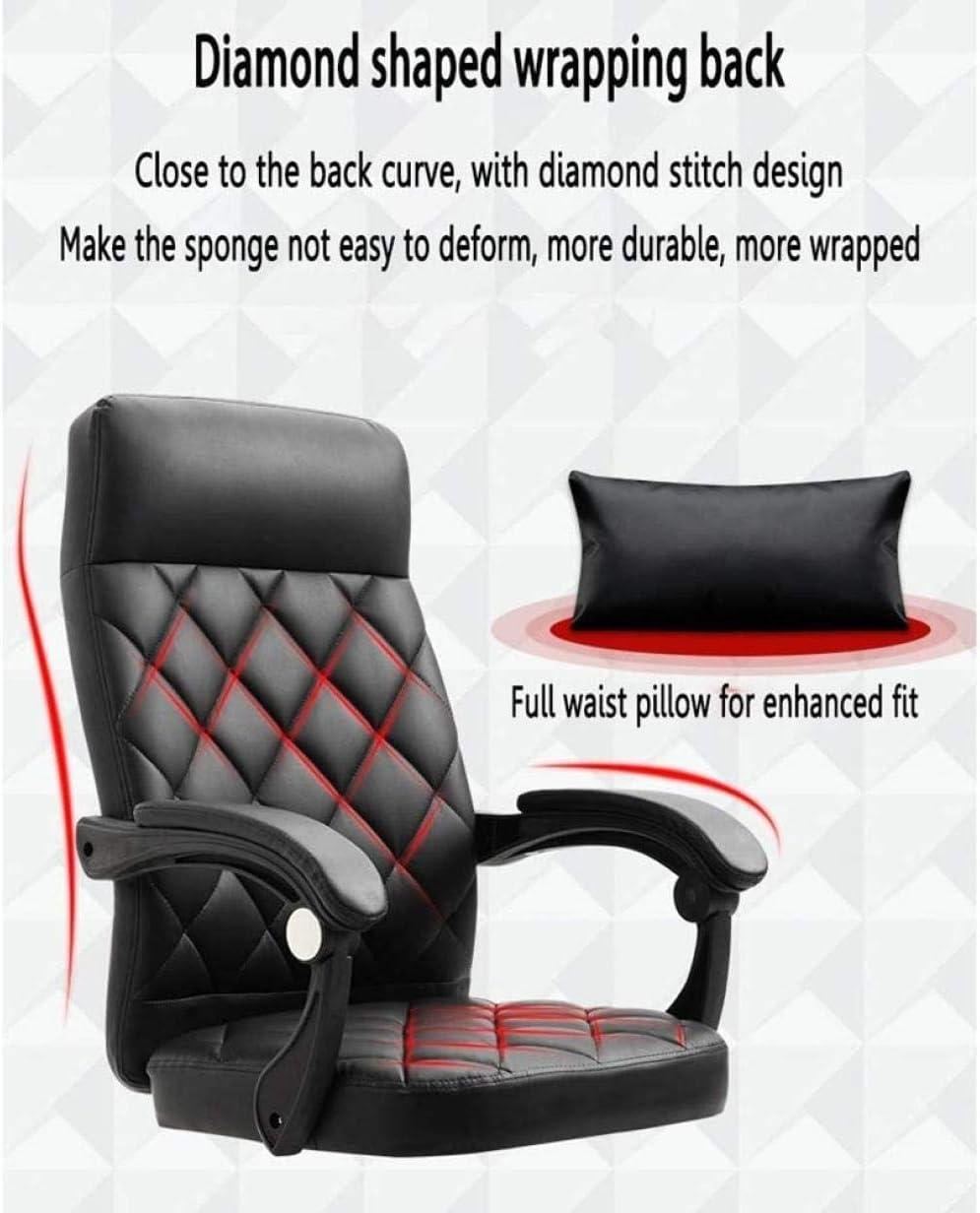 Chaise De Bureau Chambres À Coucher Chaise D'Ordinateur Pivotante avec Dossier Haut Grand Siège Et Fonction D'Inclinaison en Cuir PU Design Confort-Marron Marron