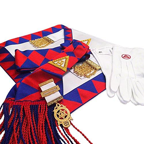 Masonic Schürze und Schärpe für den Freimaurer-Begleiter Royal Arch Companions, mit Schmucksteinen und Handschuhen