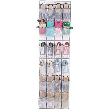 Transparent Organiseur de Chaussures /à Suspendre 48,3W x 162,6H Blanc avec 4 Crochets MaidMAX Range Chaussures Gain de Place Rangement Chaussures sur la Porte 24 Compartiments