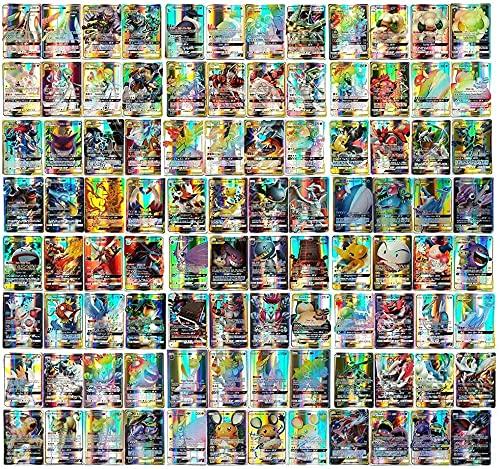TAMO Karten für Pokemon, 60/100/120 Stück Sammelkarten Set mit Kartenset Karten Kindergeschenke (56GX+44Tagteam)