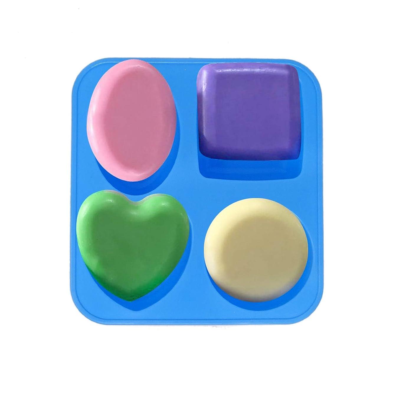 Honbay 4-Cavity Silicone Handmade Soap Mold Cake Mold - Square, Heart, Oval, Round