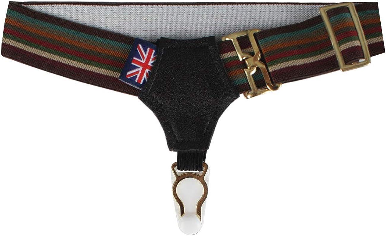 Dobell Mens Burgundy and Green Multi-Stripe Pair of Sock Suspenders