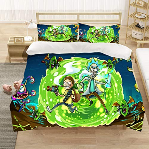 3D Anime Rick and Morty Bedding Comforter Cover Bed Set- Twin Full Queen King Size, Soft Polyester Fabric 1 Duvet Cover + 2 Pillowcases, Novelty Gifts for Lovers (1,Twin)