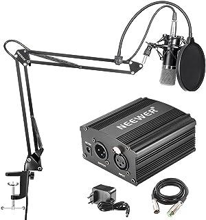 Neewer NW-700 professionell kondensormikrofon och NW-35 upphängningsboom saxstativ med inbyggd XLR-kabel och monteringsklä...