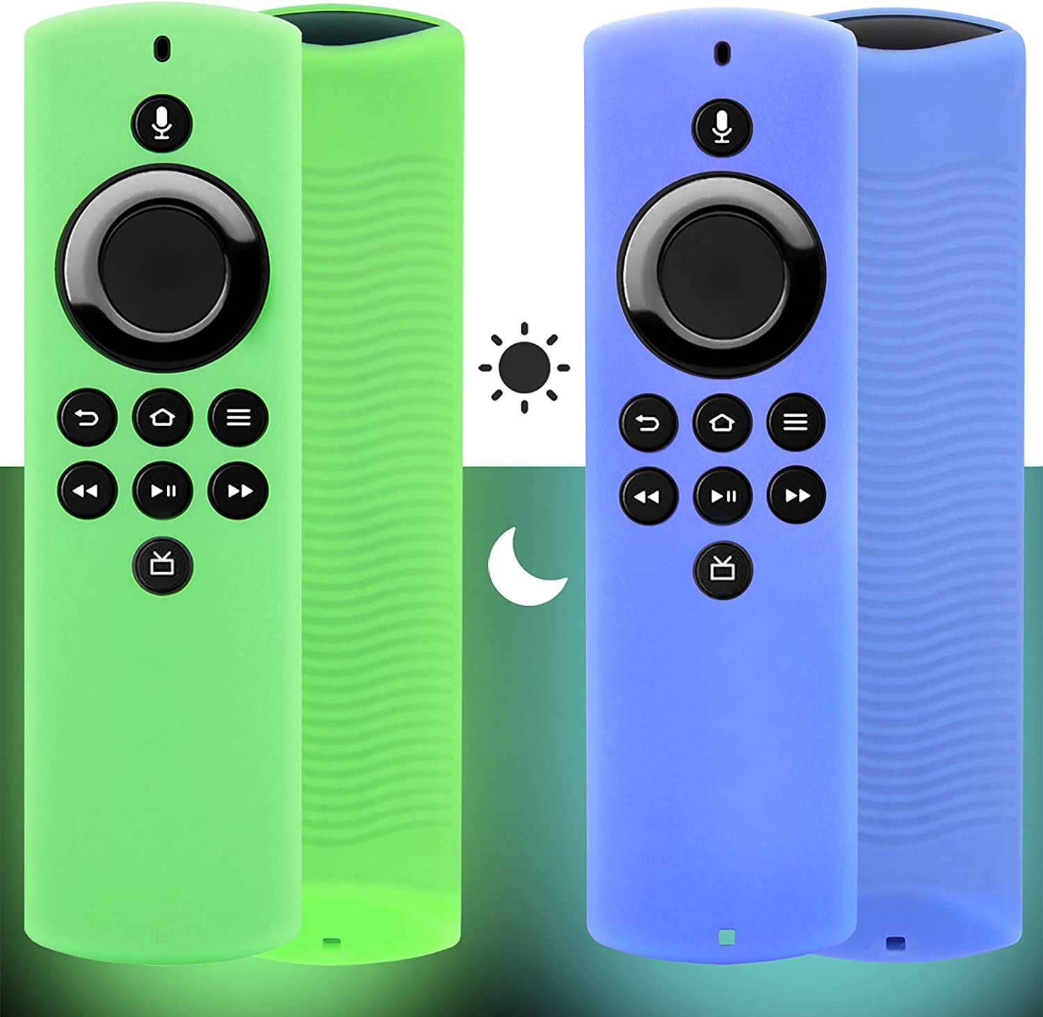 2pcs Firestick Lite Remote Cover Compatible with TV Firestick Lite 2020 (Glow in The Dark), Pinowu Firetv Silicone Cover Case with Wrist Strap for Newest Voice Remote lite (Green& Blue)