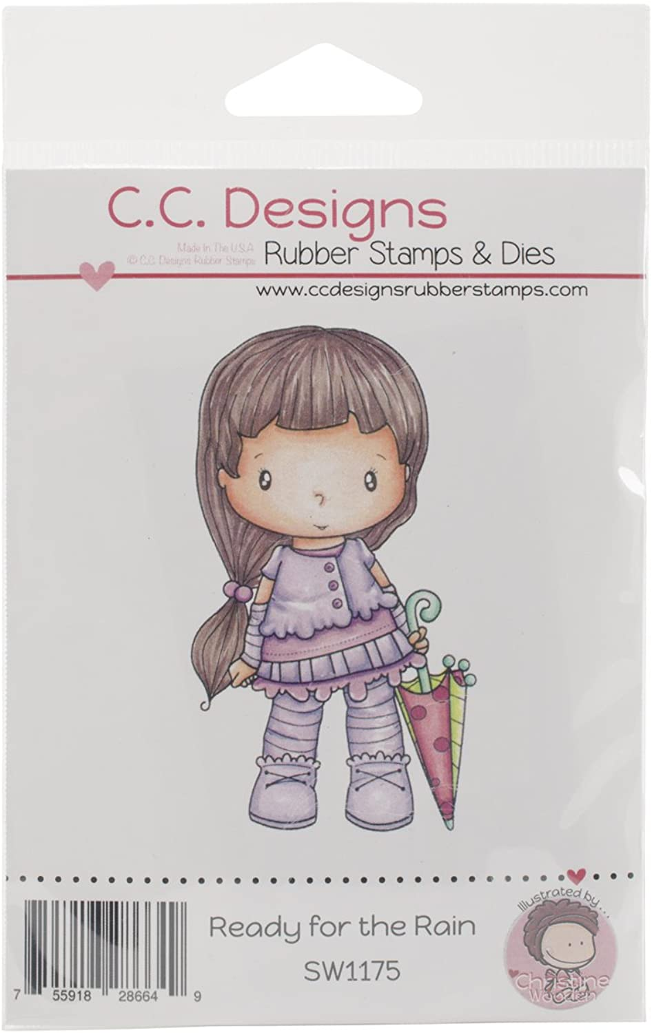 C.C. Designs Swiss Pixie Ready for The Rain Cling Stamp, 3.25 x 2