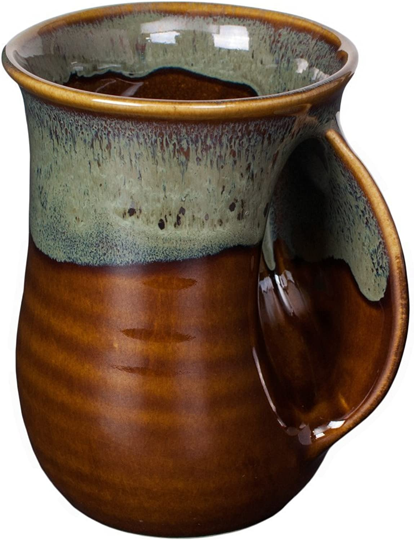 Clay in Motion Handwarmer Mug  Mocha  Right Handed