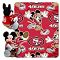 "The Northwest Company Officially Licensed NFL San Francisco 49ers Co Disney's Mickey Mouse Hugger and Fleece Throw Blanket Set, Red, 40"" x 50"""