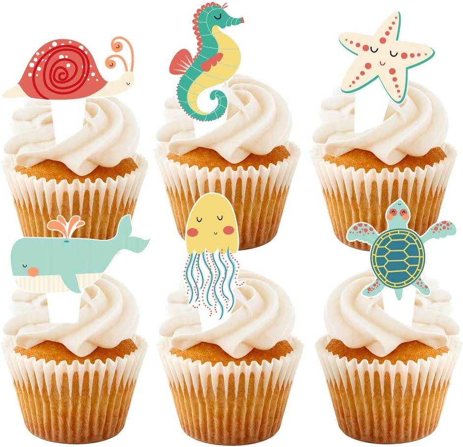 24 Pcs Sea Animals Cupcake Toppers for Sea Theme Birthday Decorations, Baby Shower Under the Sea Theme Party Supplies