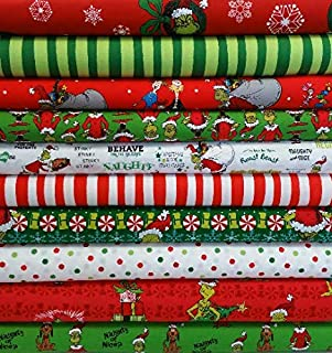 How the Grinch Stole Christmas Grinch 10 Yard Fabric Bundle from Collection by Dr Seuss- 1 Yard of Each Print = 10 Fabrics Total