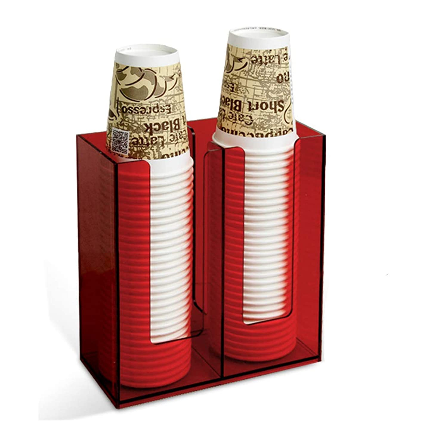 Holyo カップディスペンサー 使い捨てカップ棚 コーヒーカップ収納 紙コップホルダー コンビニ、ビュッフェ、オフィスなど適用 アクリル製 紙カップディスペンサー (レッド)