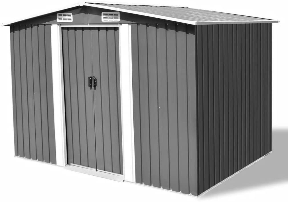 Festnight Garden Storage Shed with 4 Sl Metal Quality inspection Fashionable Double Steel Vents