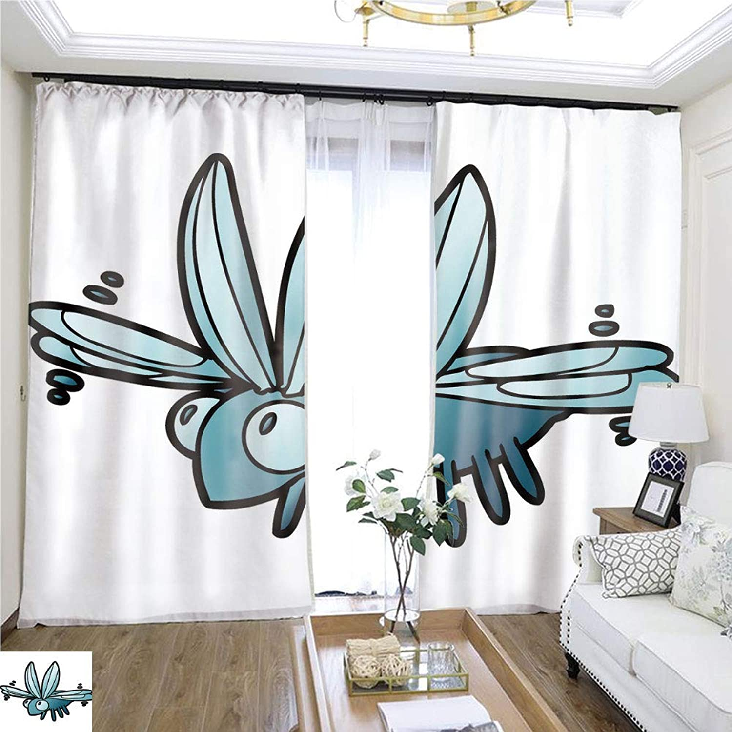 Air Port Screen Cute Cartoon Bug flying1 W96 x L84 Reduce Noise Highprecision Curtains for bedrooms Living Rooms Kitchens etc.