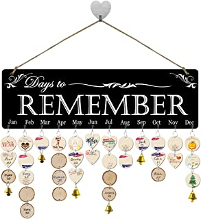 FamGift】Xmas Gifts for Grandma/Mom Wooden Birthday Reminder Calendar Sign Board Wall Hanging Family Decor Plaque Birthday Tracker Plaque for Family&Friends&Classroom(Days to Remember Sayings Pattern