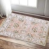 jinchan Doormat Pink Kitchen Area Rug Vintage Elegant Floral Floorcover Indoor Low Pile Mat for Living Room Bedroom 2'x 3'3'