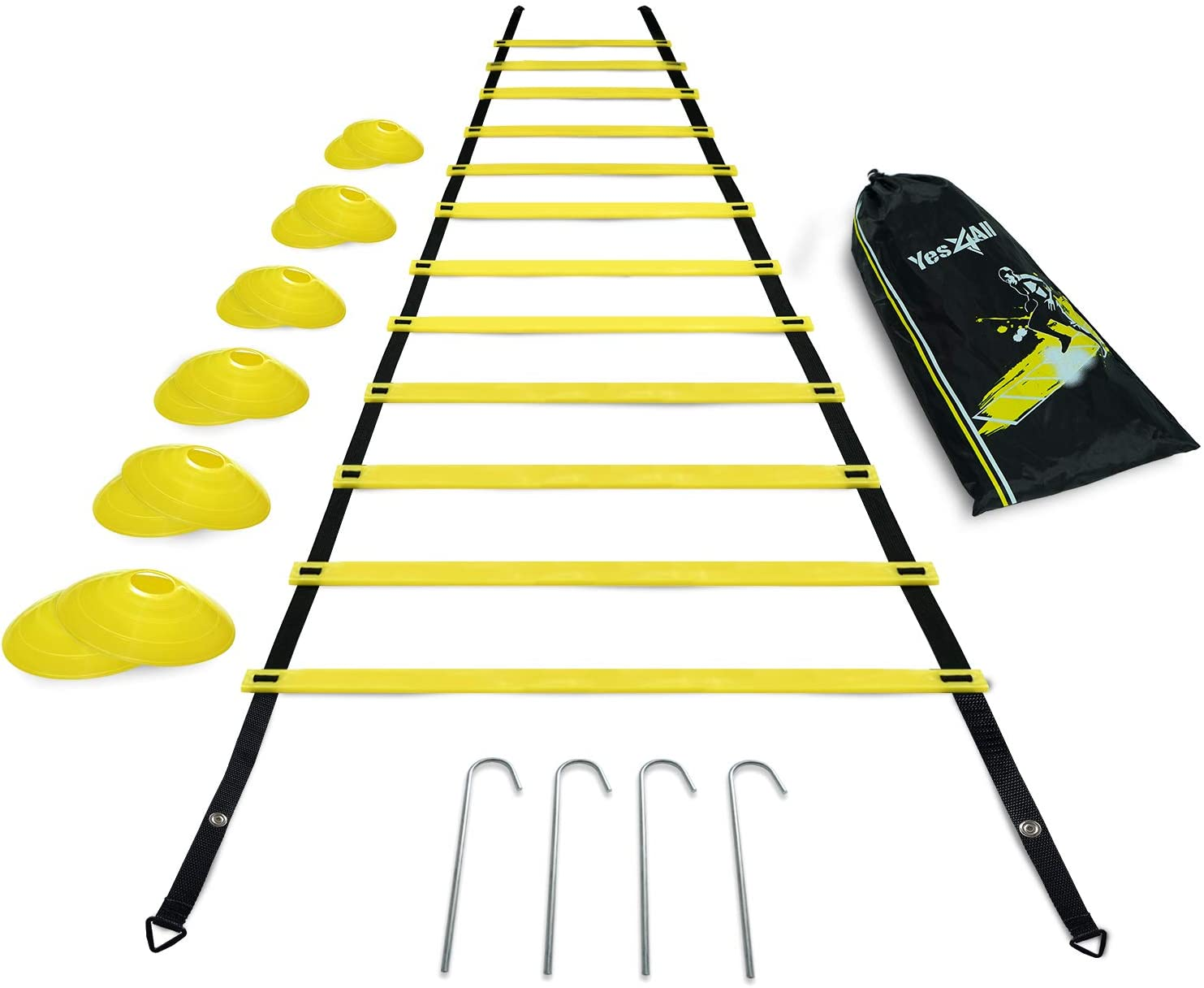 Yes4All Ultimate Combo Agility Ladder Training Set with Agility Ladder 12 Rungs & 12 Agility Cones, Agility Combo Speed Ladder and Balance Training Footwork for All Ages, Included Carry Bag
