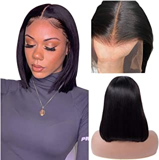 13x6 Lace Front Short Bob Wigs Human Hair Brazilian Straight Wigs For Black Women Glueless 150% Density Pre Plucked with Baby Hair Natural Black 14 Inch