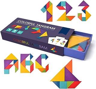 Ourine ジグソーパズル 積み木 パズル タングラム 教育おもちゃ 子供 木のおもちゃ ブロック パターンブロック 木製 形合わせ 知育玩具 クリエイティブ 幾何認知 色彩認識 創造力 想像力 組み合わせ 贈り物