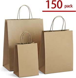 GSSUSA Kraft Paper Bags 8x4.25x10& 10x5x13& 16x6x12 50 Pcs Each, Gift Bags, Kraft Bags,Shopping Bags with Handles,Craft Bags, Merchandise Bags, 100% Recyclable Paper