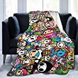 Voglawear Tokidoki 80'X60' Fleece Blanket, Very Soft Microfiber Flannel Blanket for Couch Warm and Cozy for All Seasons