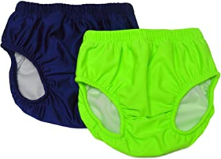 My Pool Pal Big Kids 2 Pack Swim Brief/Diaper Cover, Navy/Lime Green, Small