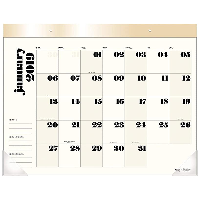 Emily + Meritt 2019 Monthly Desk Pad Calendar, 21-3/4