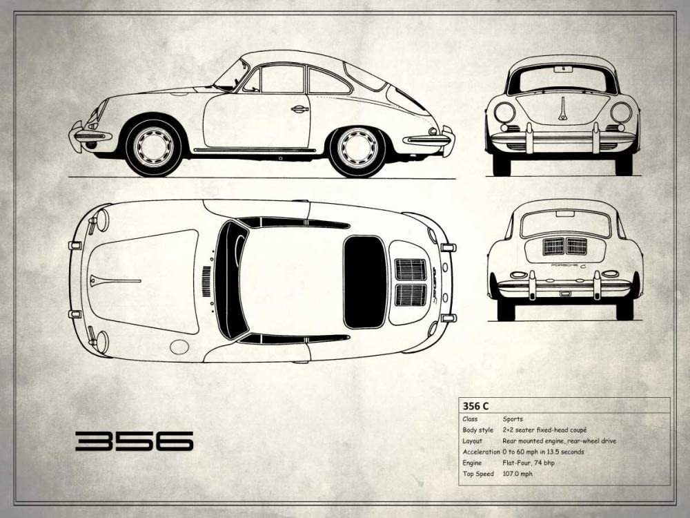 Posterazzi PDXRGN113211SMALL Porsche 356C Finally resale start White Mark Poste Rogan ! Super beauty product restock quality top!