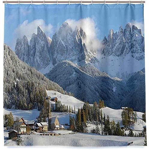 RP Amazing Bad Vorhang,Bergdorf-Landschafts-Winter Mit Schnee-Gipfel-Nordzonen-Stellen-Alpen-Badevorhängen 168X183Cm