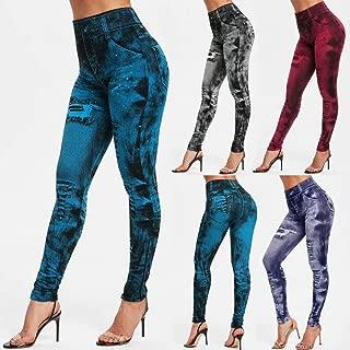 HUIJUNWENTI Sexy Women Leggings Imitation Jeans High Waist Pants Fitness Elastic Slim Leggins Mujer 2019 Sport Casual Leggins Female Push Up (Color : Dark Black 1, Size : L)