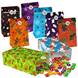 TOYMYTOY Sacchetti di carta per Halloween, con adesivi per bambini, per Halloween, caramelle, 8 design, 72 pezzi