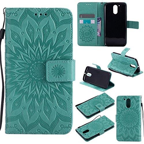 Aralinda Funda protectora de piel sintética con diseño de flores de sol, con ranura para tarjetas, compatible con Motorola Moto G4/G4 Plus (color verde)